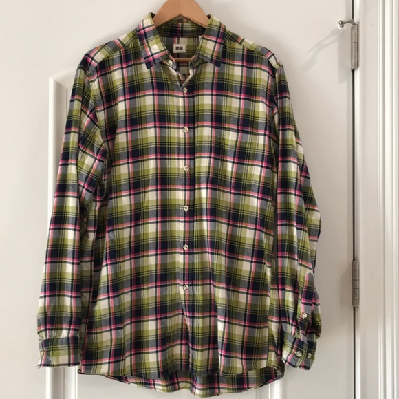 Uniqlo Other - Uniqlo lime/black/pink plaid flannel shirt, large